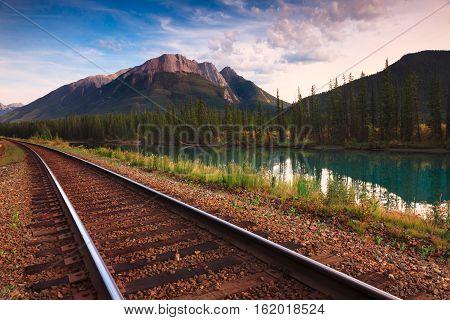 The Bow river is a river that runs along the icefields parkway in Banff, Albert Canada.
