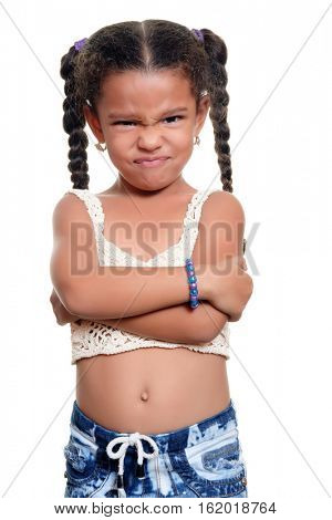 African american small girl with an angry face isolated on a white background