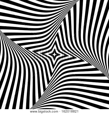 Abstract op art design. Torsion movement. Vector illustration.
