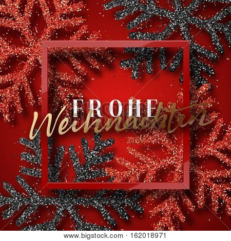 merry christmas german inscription frohe weihnachten christmas background red beautiful bright snowflakes