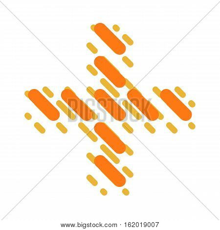 Striped latin alphabet. Letter plus from lines hatching dotted decorative font
