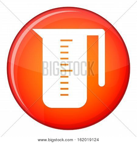 Measuring cup icon in red circle isolated on white background vector illustration
