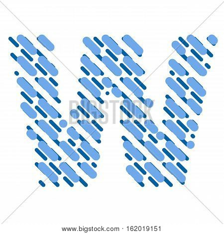 Striped latin alphabet. Letter W from lines hatching dotted decorative font