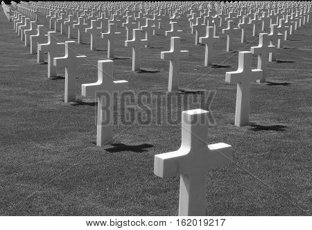 Fallen American Heroes from World War II at the Luxembourg-American Cemetery and Memorial in the Luxembourg City of Hamn.