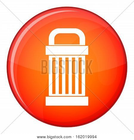Trash icon in red circle isolated on white background vector illustration