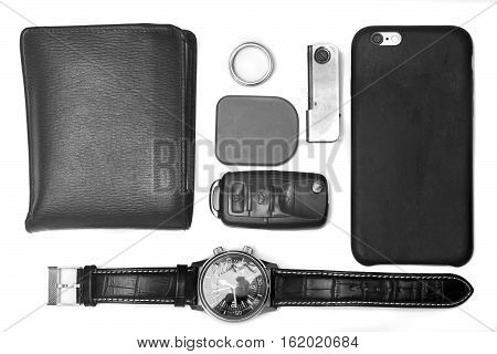 Every day carry man items collection isolated on white. Black and white. BW.
