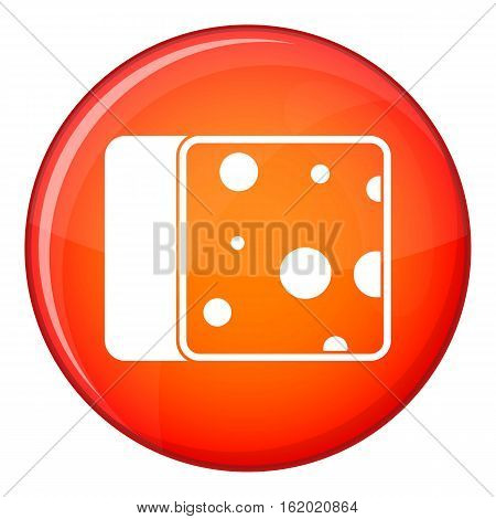 Cheese icon in red circle isolated on white background vector illustration