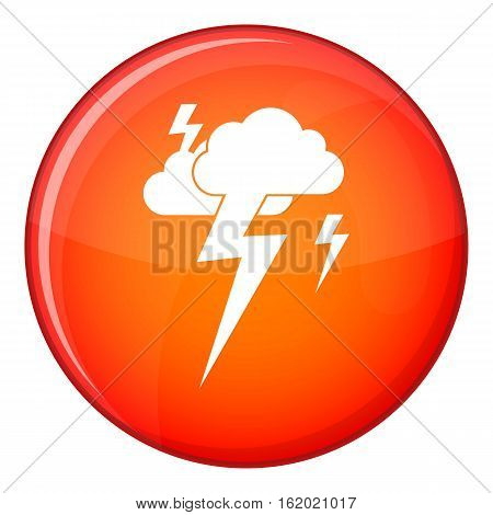 Cloud and lightning icon in red circle isolated on white background vector illustration