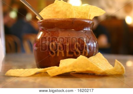 Salsa And Chips At Mexican Restaurant