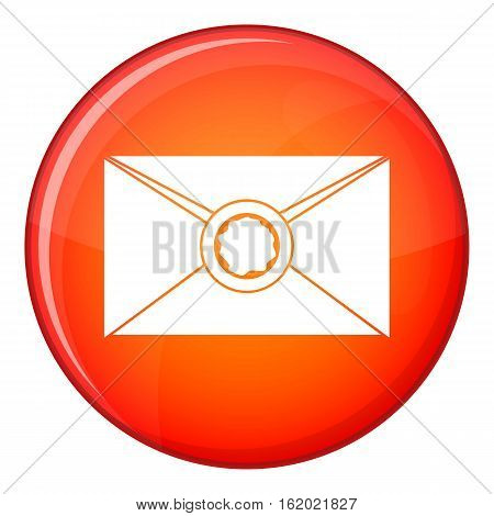 Envelope with red wax seal icon in red circle isolated on white background vector illustration