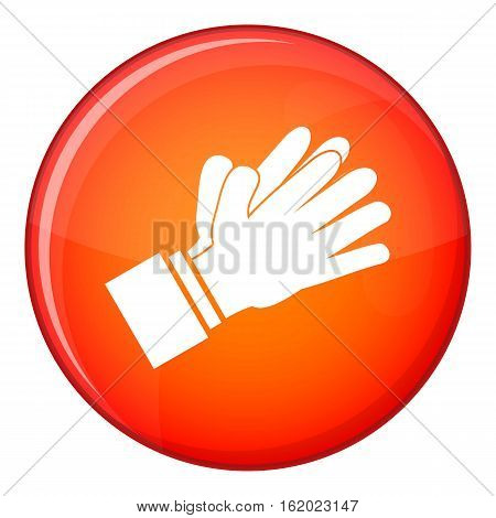 Clapping applauding hands icon in red circle isolated on white background vector illustration