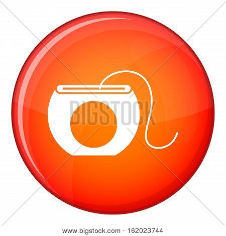 Dental floss icon in red circle isolated on white background vector illustration