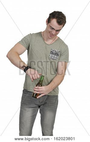 Man opening the adult beverage known as beer