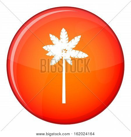 Palm woody plant icon in red circle isolated on white background vector illustration