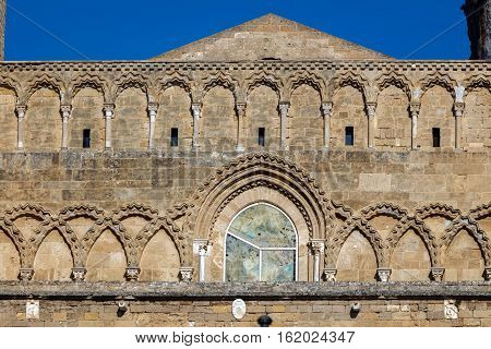 Facade Of The Cefalu Cathedral In Cefalu, Sicily, Italy.
