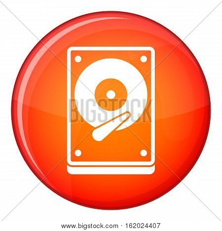 HDD icon in red circle isolated on white background vector illustration