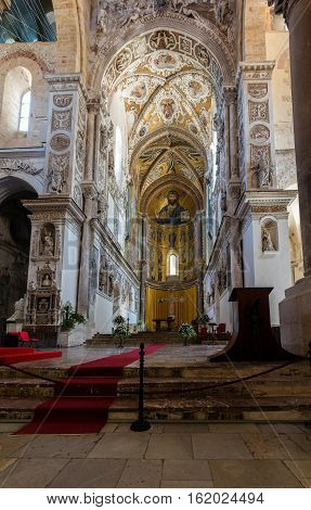 13Th Century Cefalu Cathedral In Cefalu, Sicily, Italy.