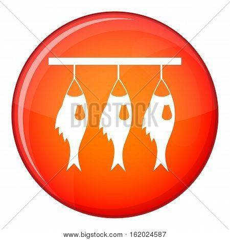 Three dried fish hanging on a rope icon in red circle isolated on white background vector illustration