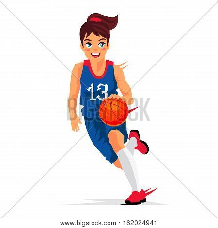 Young girl basketball player in a blue uniform with a ball. Vector illustration on white background. Sports concept.
