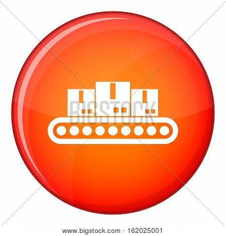 Belt conveyor with load icon in red circle isolated on white background vector illustration