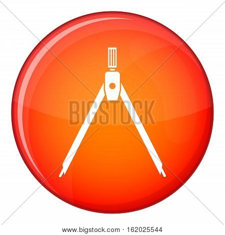 Drawing compass icon in red circle isolated on white background vector illustration