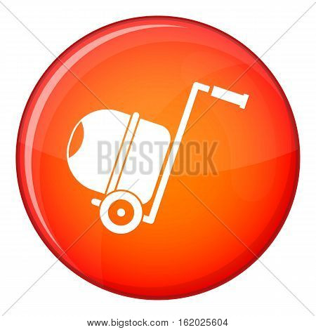 Concrete mixer icon in red circle isolated on white background vector illustration