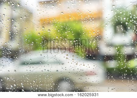 abstract scene of water drop on glass in rainy day - can use to display or montage on product