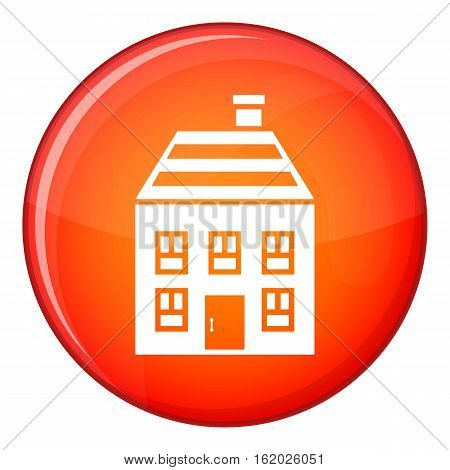 Two-storey house with chimney icon in red circle isolated on white background vector illustration