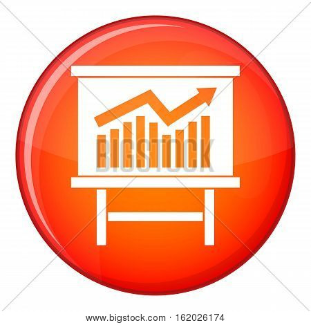 Growing chart on presentation board icon in red circle isolated on white background vector illustration