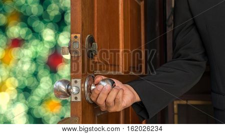 abstract businessman open door to bokeh light background - can use to display or montage on product