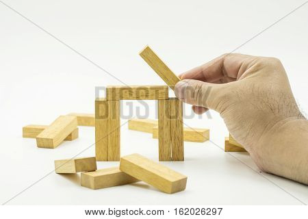 abstract concept of wood block for construction house isolate - can use to display or montage on product