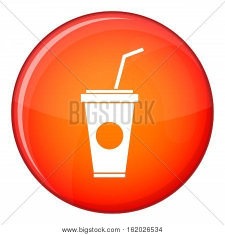 Paper cup with straw icon in red circle isolated on white background vector illustration