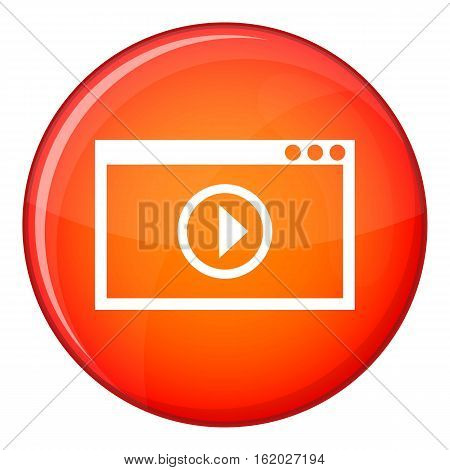 Program for video playback icon in red circle isolated on white background vector illustration
