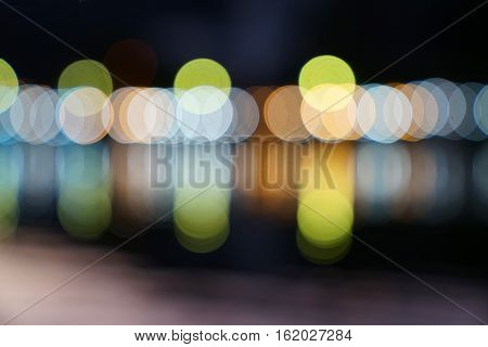 Abstract multicolor blurred bokeh light with water reflection at night