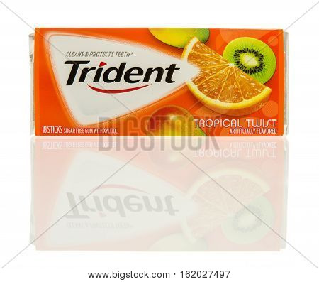 Winneconne WI - 13 December 2016: Package Trident gum in tropical twist flavor on an isolated background.