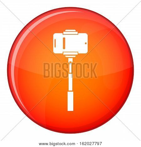 Mobile phone on a selfie stick icon in red circle isolated on white background vector illustration