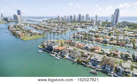Aerial view of Macintosh Island and surrounds, facing north. Gold Coast Australia