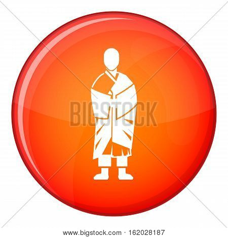 Buddhist monk icon in red circle isolated on white background vector illustration