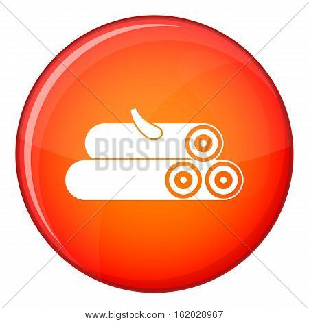 Wooden logs icon in red circle isolated on white background vector illustration
