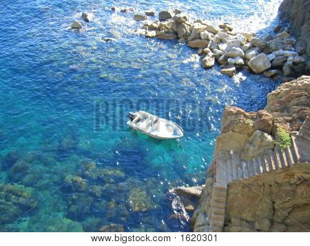 Small Boat In Riomaggiore Creek, The Cinque Terre, Italia
