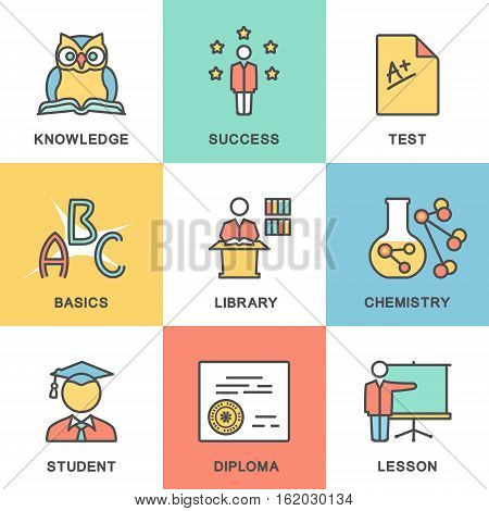 Modern contour icons of basic education. Lessons, test, diploma.