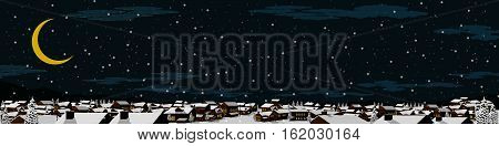 winter land scape background, falling snow in the dark night