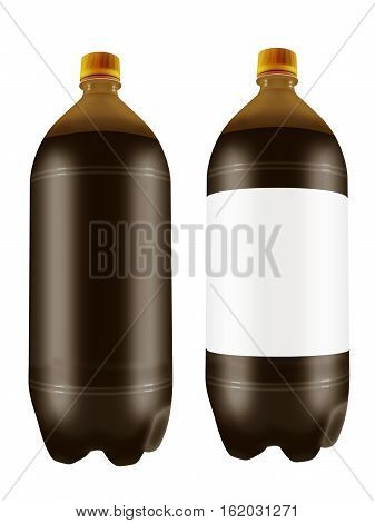 Beer in two liter plastic bottles isolated on white background. 3D illustration.