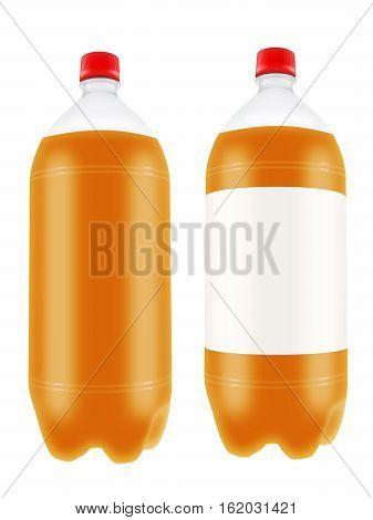 Refreshing orange drink in plastic bottles isolated on white background. 3D illustration.