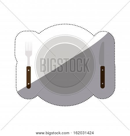 Cutlery and plate icon. Dishware food restaurant and meal theme. Isolated design. Vector illustration