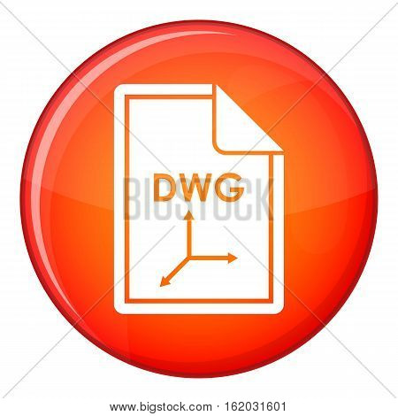 File DWG icon in red circle isolated on white background vector illustration