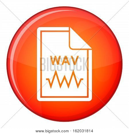File WAV icon in red circle isolated on white background vector illustration