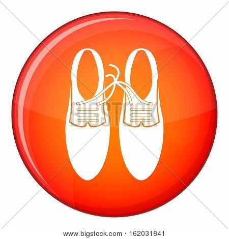 Tied laces on shoes joke icon in red circle isolated on white background vector illustration
