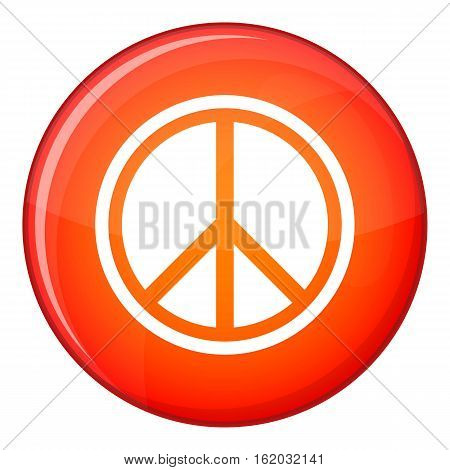 Sign hippie peace icon in red circle isolated on white background vector illustration