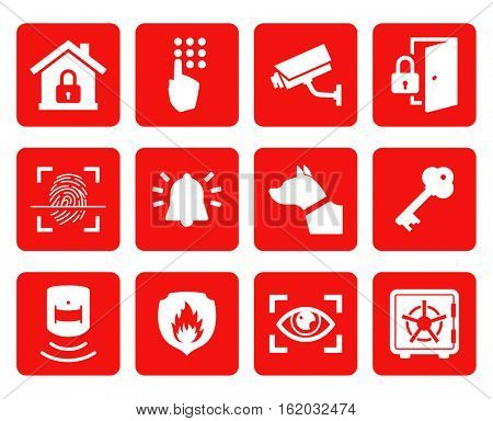 Home Security Icons Set. Warning signs. White symbols on red background.
